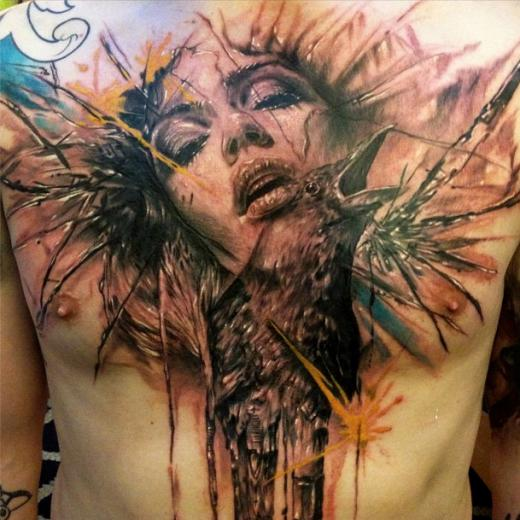 Artistic Crows And Joker Head Tattoos On Entire Back