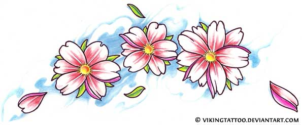 Asian Blossoms And Symbol Tattoos For Girls