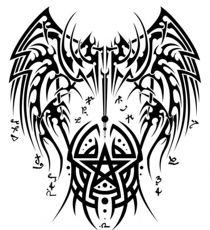 Asian Devil Face Tattoo Design With Color Ink