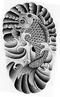 Asian Koi Fish Tattoo On Chest