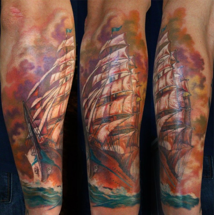 Attractive Colored Sailing Ship And Flower Tattoos