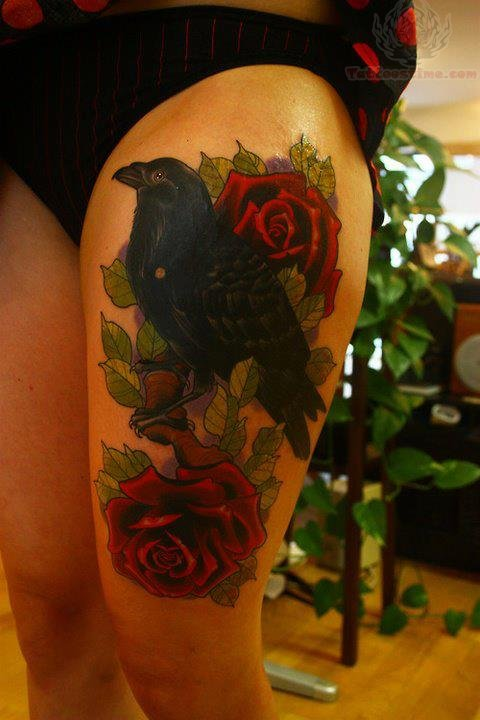 Attractive Crow And Rose Tattoos On Thigh