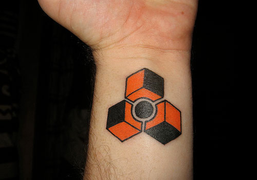 Attractive Geek Triangle Tattoo On Inner Wrist