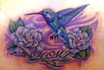 Attractive Hummingbird Tattoo Design For Mom