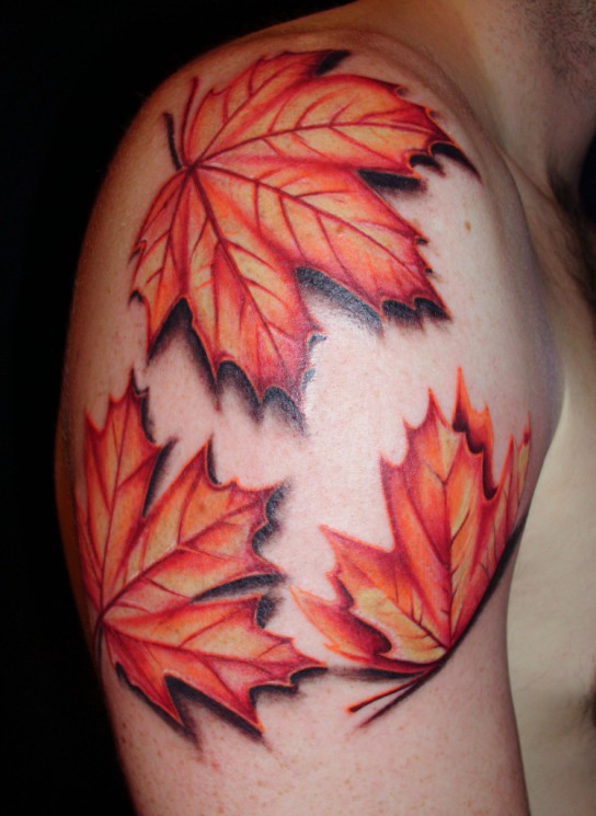 Autumn Leafs Tattoo On Upper Arm