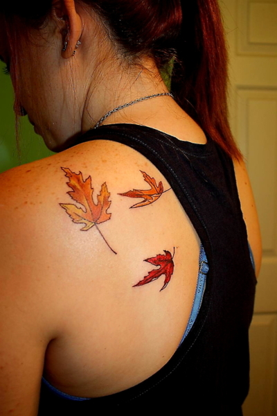 Autumn Leaves Tattoo On Back For Women