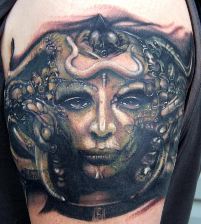 Awesome Alien Woman Face Tattoo