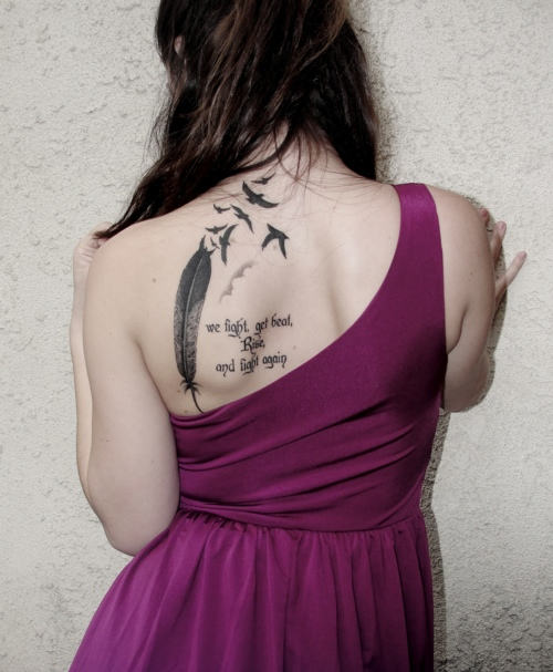 Awesome Anchor Tattoo With Feather