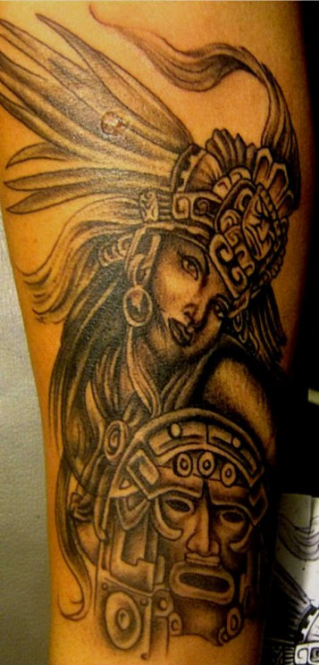 Awesome Aztec Girl Tattoo Design