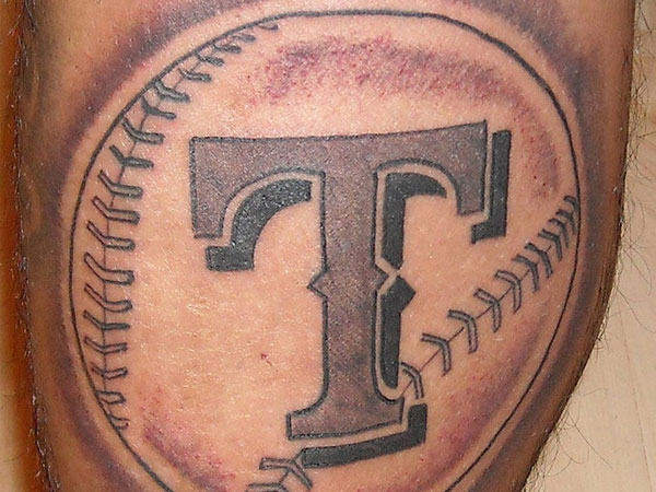 Awesome baseball cross tattoo on biceps in 2017 real for Baseball tattoo designs