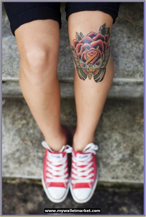 Awesome Bees Tattoo Design On Knee