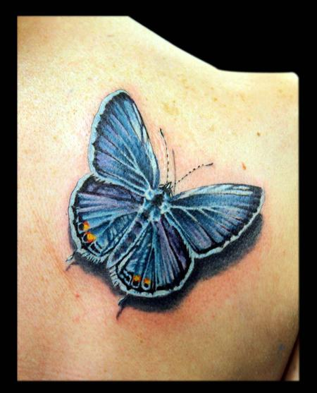 Awesome Blue Butterfly Tattoo