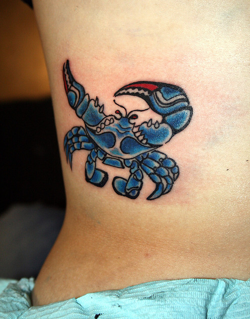 Awesome Blue Crab Tattoo Design