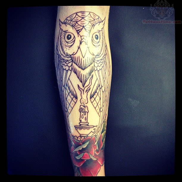Awesome Burning Candle Lamp Tattoo Design