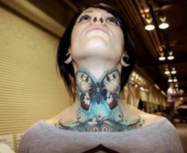 Awesome Butterfly Tattoo on Neck