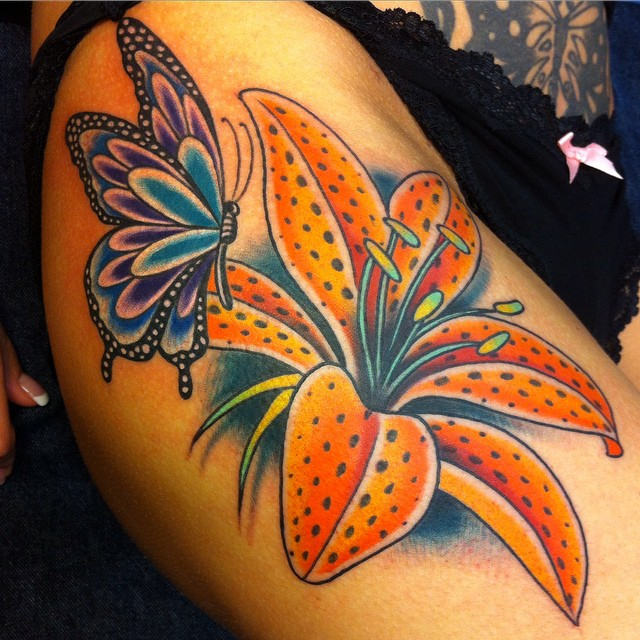 Awesome Butterfly with Flowers Tattoo