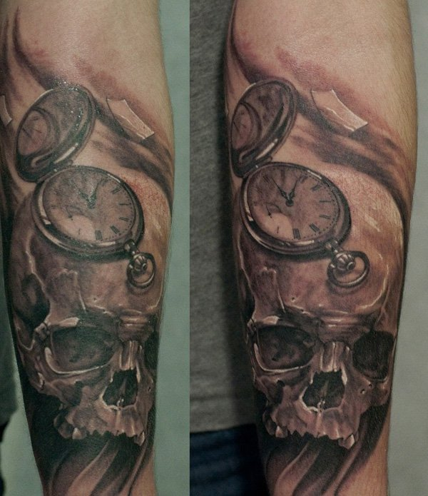 Awesome Casino Skull And Watch Tattoos