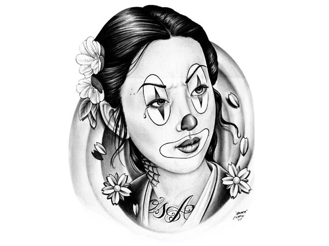 Awesome Clown Girl Tattoo Design