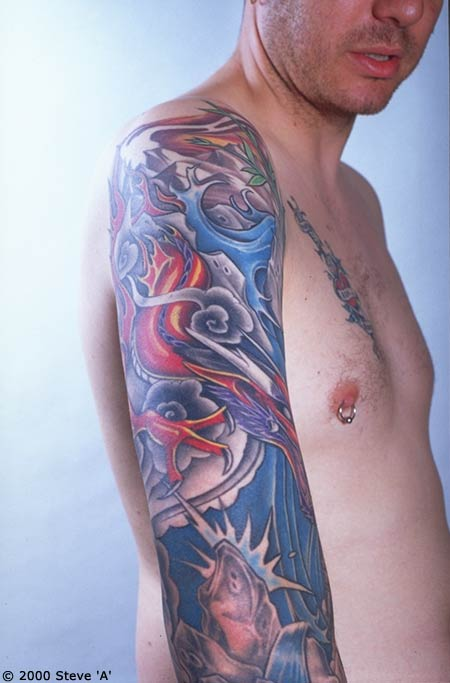 Awesome Colored Japanese Sleeve Tattoos