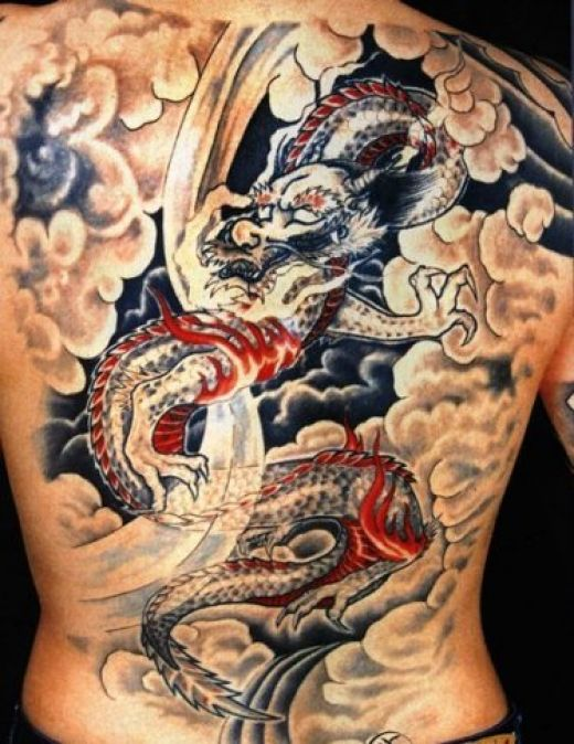 Awesome Colourful Dragon Tattoo on Back