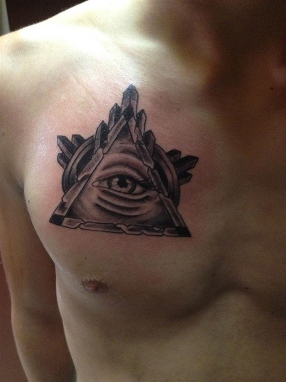 Awesome Grey Ink Eye Triangle Tattoo On Chest