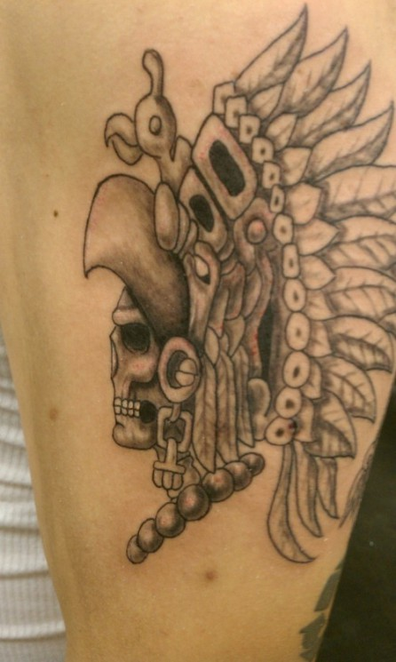 Awesome Grey Ink Skull Tattoos On Arm