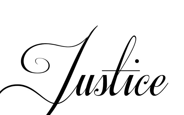 Awesome Justice Lettering Tattoo Design