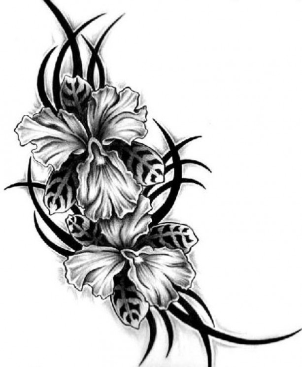 Awesome Lily Flower Tattoo Design