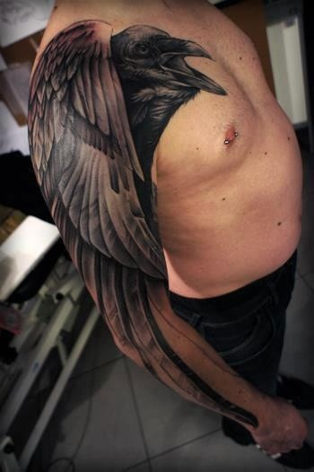 Awesome Realistic Crow Tattoo On Arm