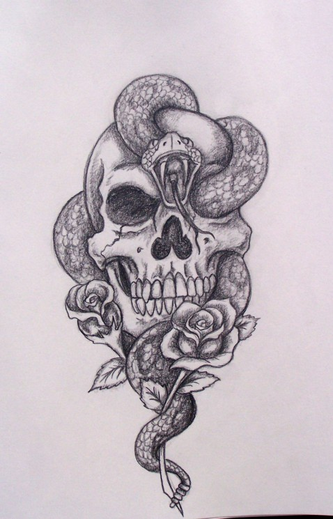 Awesome Roses And Skull Tattoos