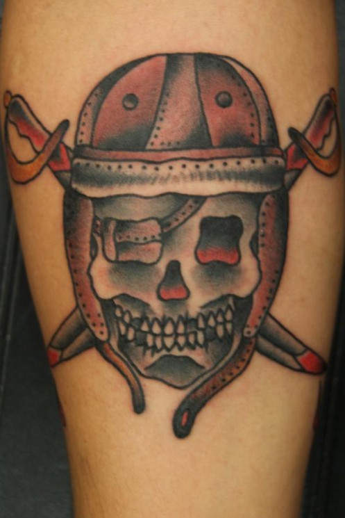 Awesome Traditional Skull Tattoo