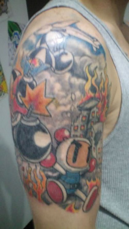 Awesome Video Game Half Sleeve Tattoo Style