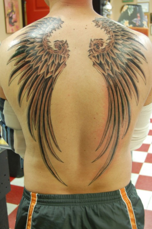 Awesome Wings Tattoos On Back For Women