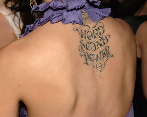 Awesome Words Tattoos On Upper Back