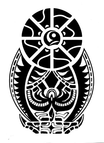 Aztec Snake Circle Tattoo Stencil