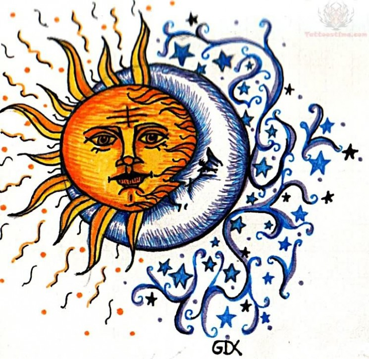 Aztec Sun And Moon Tattoo On Shoulder