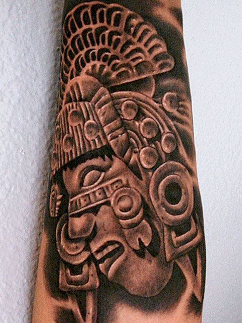 Aztec Warrior And Pyramid Tattoos On Half Sleeve