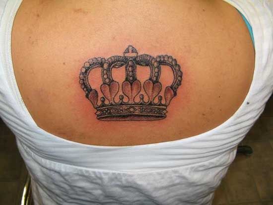 Baby With Crown Tattoo On Back