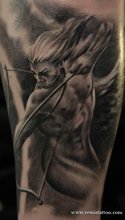 Back Angel Tattoo Design With Black Ink