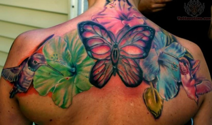 Back Ear Butterfly Insect Tattoo