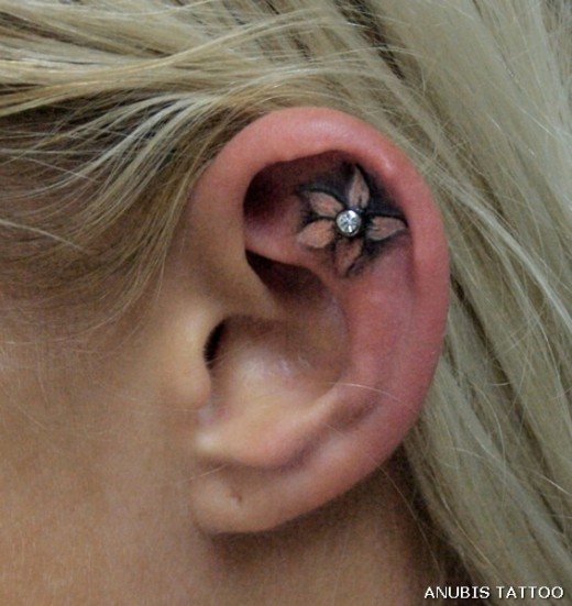 Back Ear Floral Tattoo Design For Girls