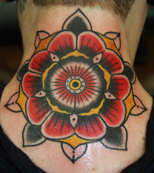 Back Neck Traditional Tattoo
