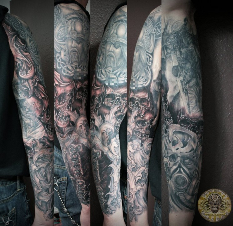 Back Piece Viking Warrior And Skull Tattoos
