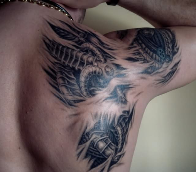 Back Shoulder Biomechanical Tattoo