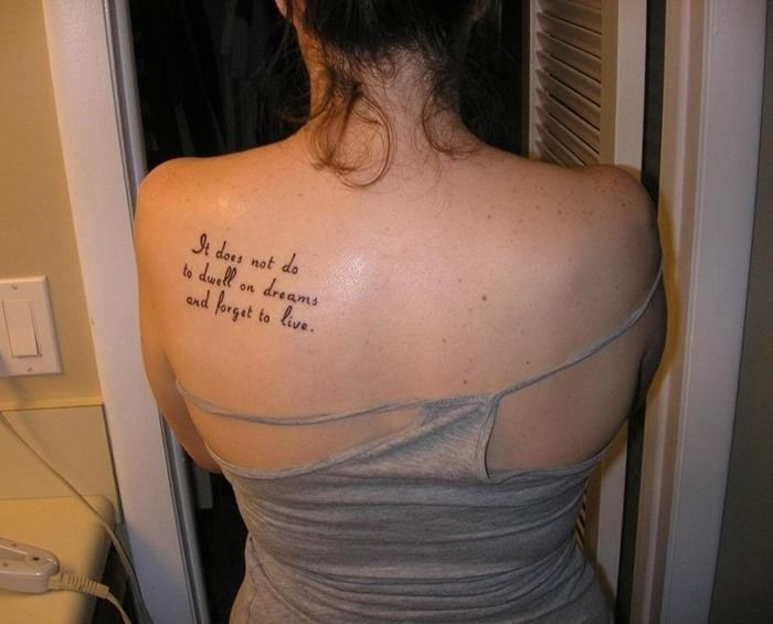 Back Shoulder Quotes Tattoo For Women