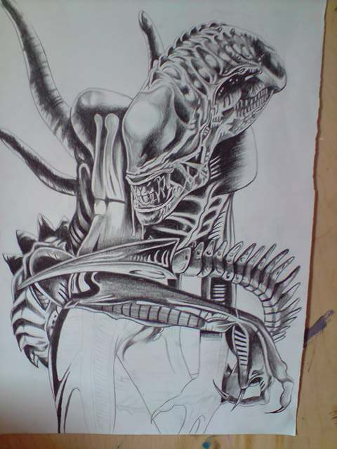 Back With Alien Tattoo Design