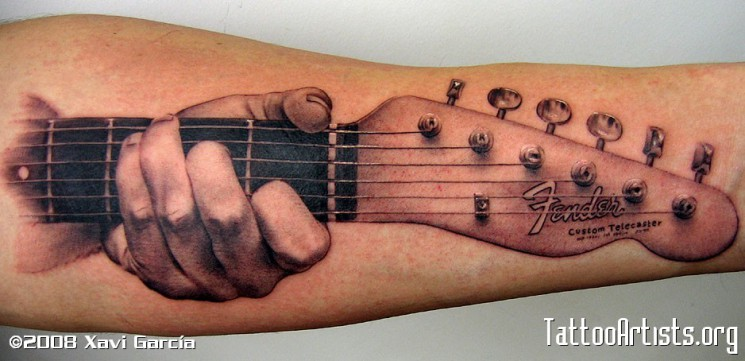 Band Guitar Tattoo With Leaves