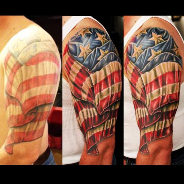 Banner And American Flag Tattoos On Shoulder
