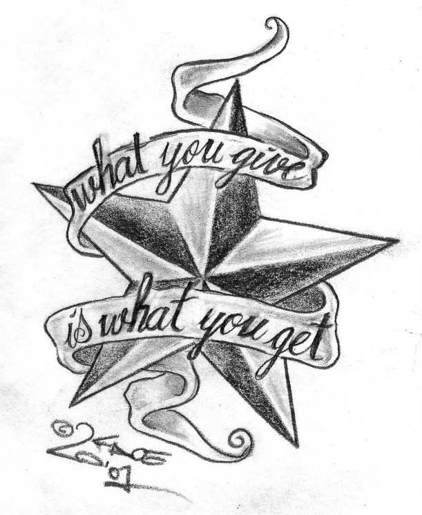 Banner With A Nautical Star Tattoo On Back Shoulder