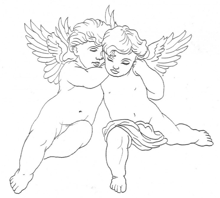 Banner With Baby Angel Tattoo Design